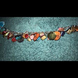 Warm tones, glass beaded bracelet.